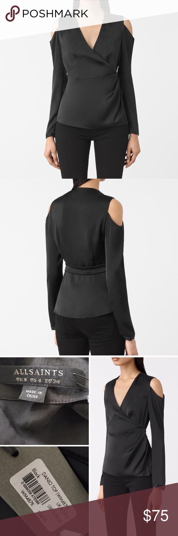 f83f1e00b2238 NWT 💋 ALL SAINTS Danio Cold Shoulder Top BLACK Never worn - still has tag  attached