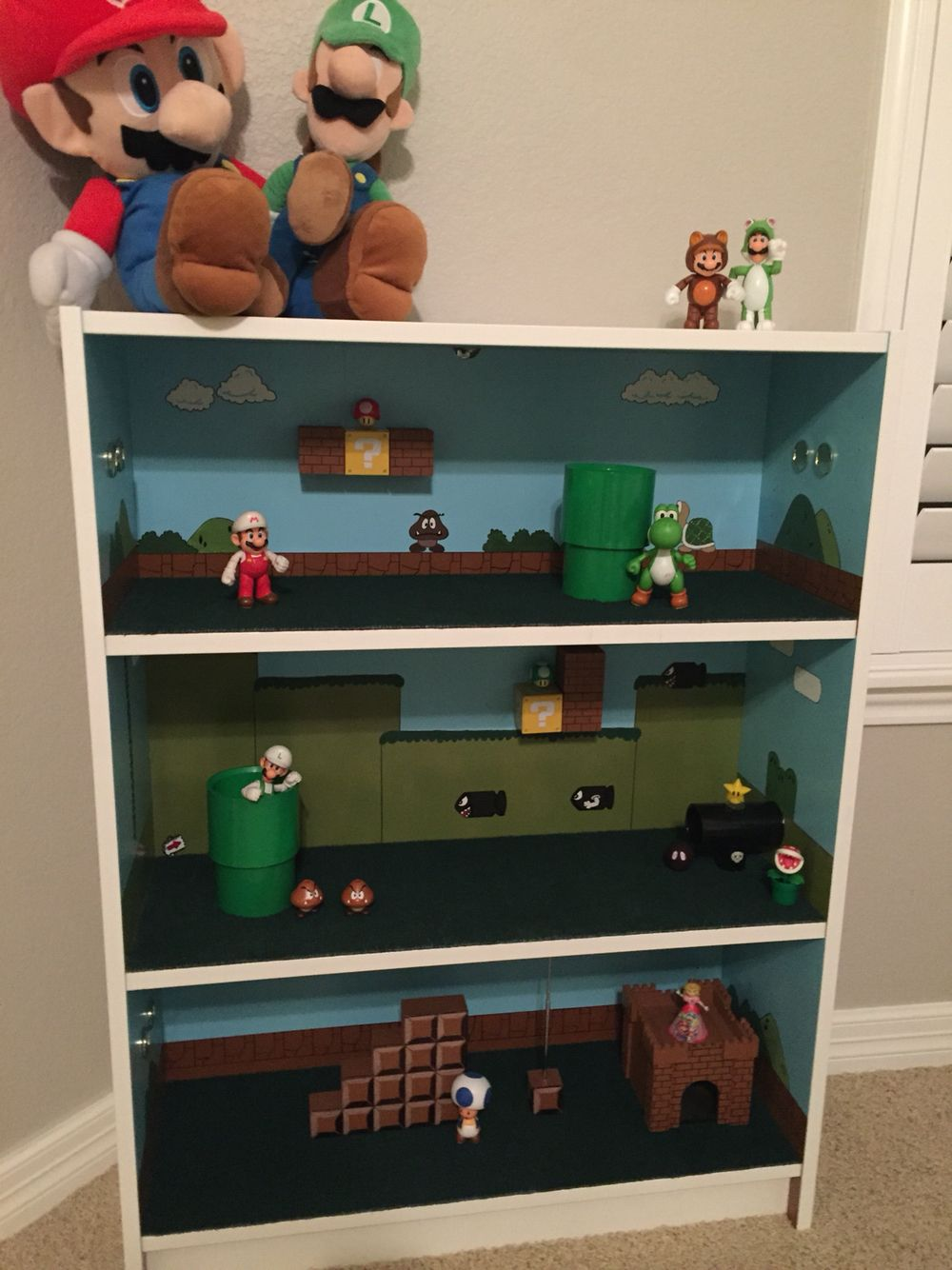 Three level play house made from IKEA Billy dresser & PVC