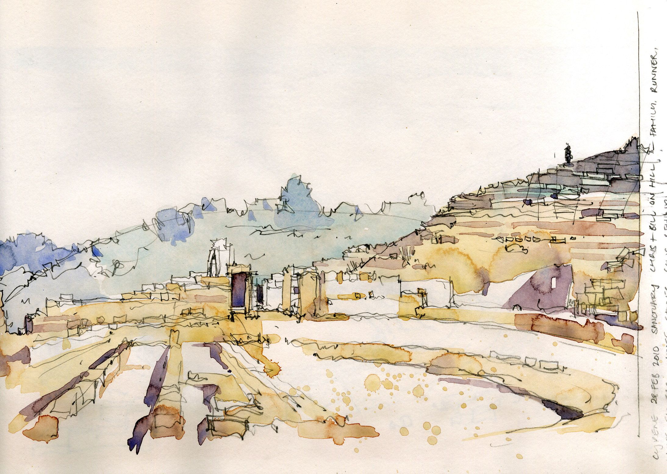 Watercolour Sketch - Amphitheatre at Cyrene, Green Mountains, Libya www.nickhirst.co.uk