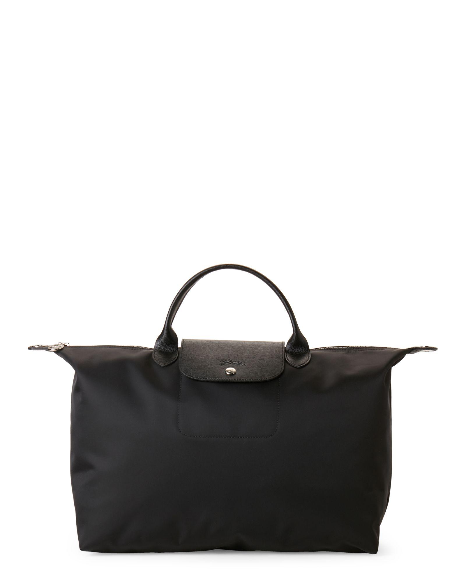 e Large Longchamp Abbigliamento accessori Satchel Folding Black Neo The wwpqa0S