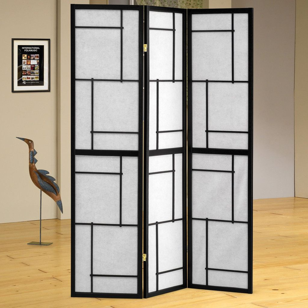 3 Panel Black Folding Screen Room Divider By Coaster 900102 Screens Dividers This Is Great For Sectioning Off Any E