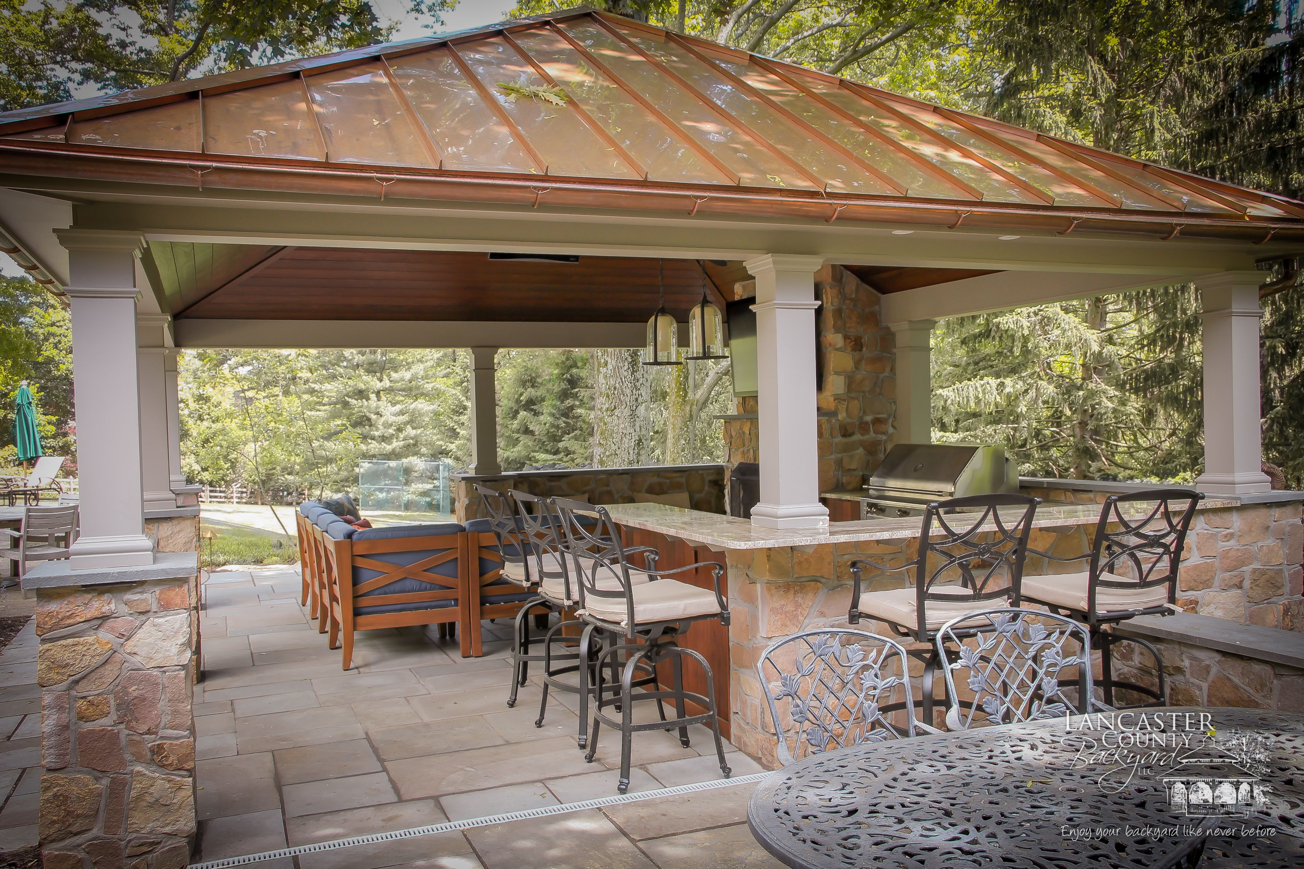 gorgeous outdoor pavilion for high end backyard living space