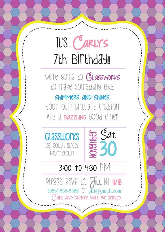 CUSTOM Little Girl Mosaic Birthday Party Invitations by WordsToArt