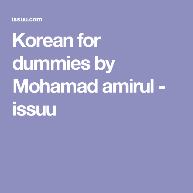 Korean for dummies | English, English grammar and English grammar ...