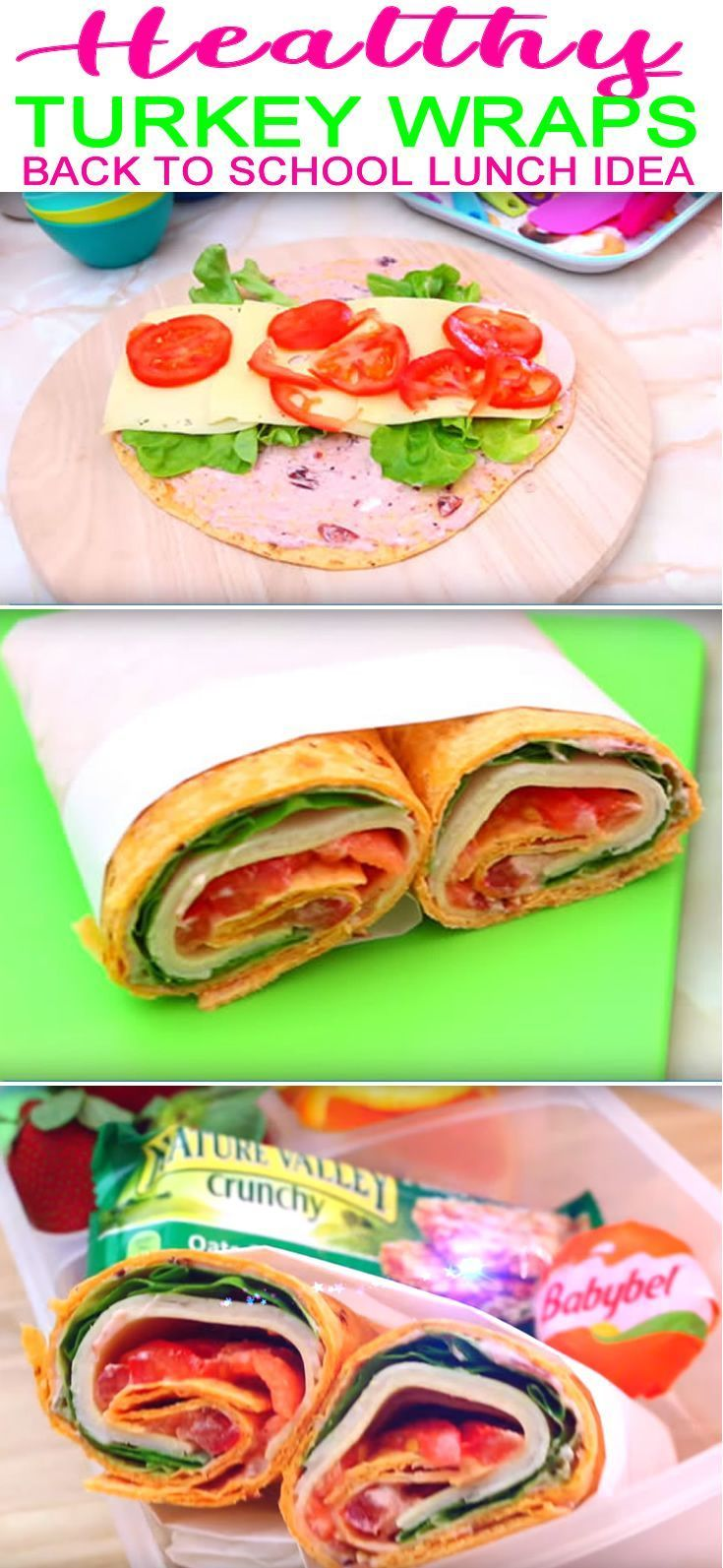 Easy Healthy School Lunch Ideas For Kids & Teens | Easy & Simple Turkey Wraps