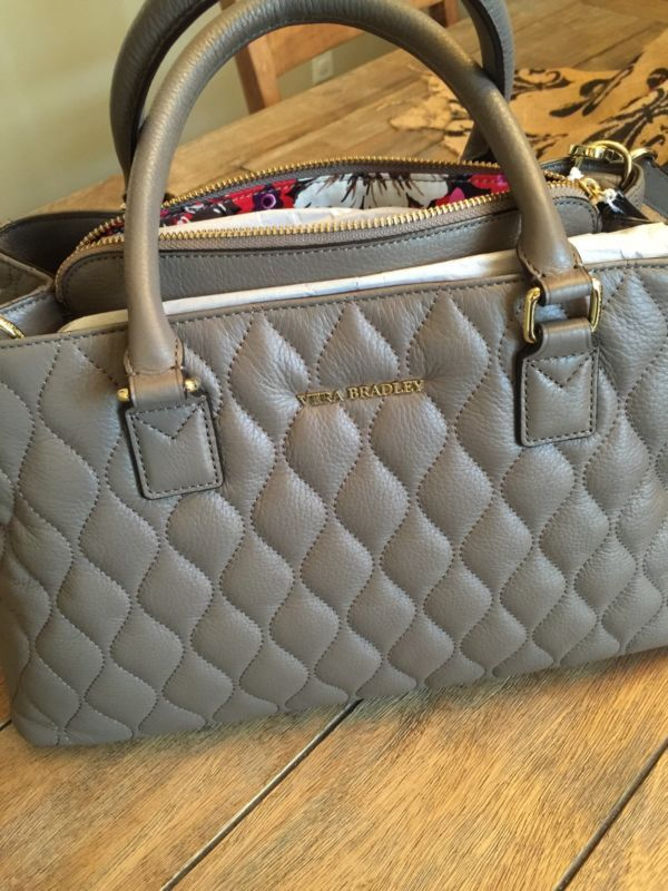 Vera Bradley Black Taupe Colorblock Quilted Leather Emma