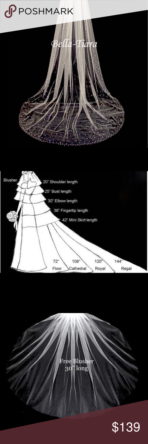 """Regal 144"""" long crystal cathedral wedding veil Boutique in"""