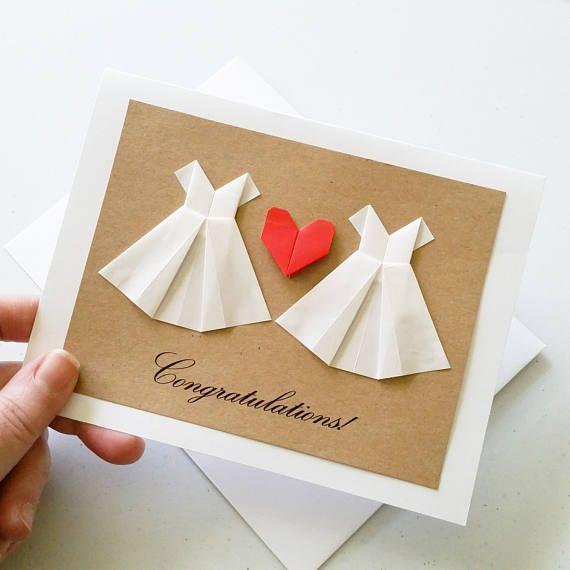 Congratulations Wedding Card Handmade Lesbian Wedding Card 3d