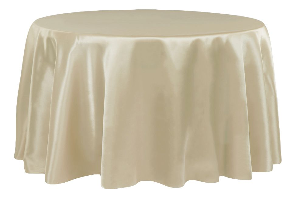 "Satin 108"" Round Tablecloth Champagne Linens Round"