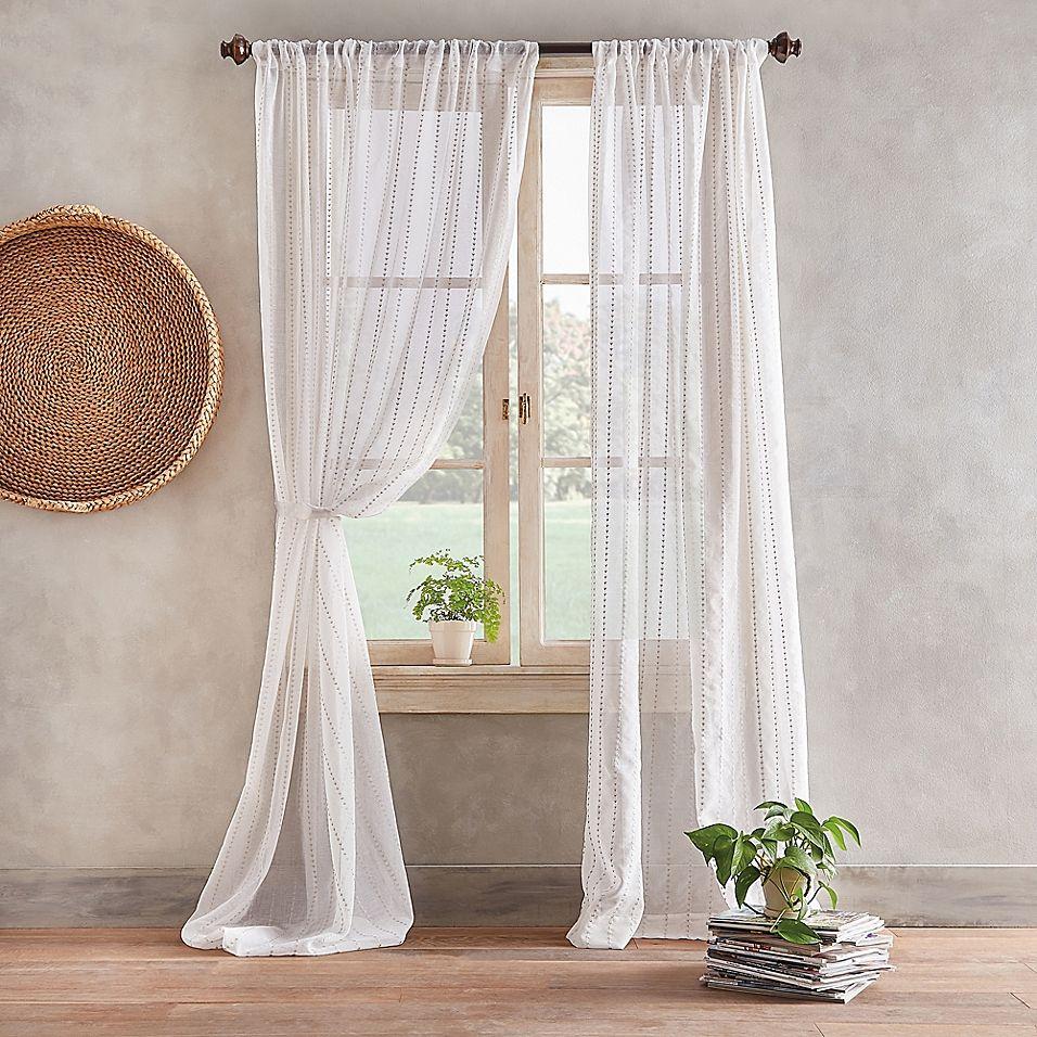 """Desmond 108"""" Pole Top Sheer Window Curtain Panel In Linen"""