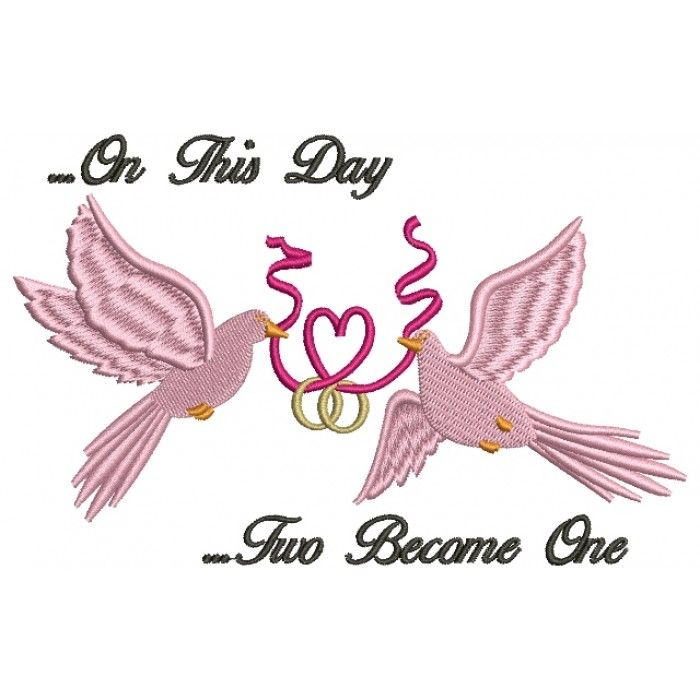 doves holding a heart ribbon wedding rings filled machine embroidery digitized design pattern embroidery