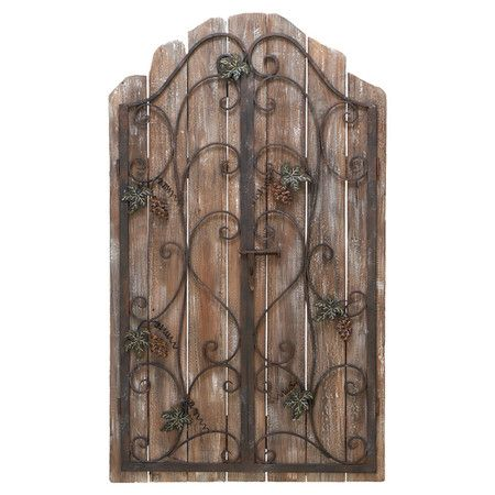 Reclaimed Wood Picket Fence Wall Decor With An Iron Gate Overlay Product Wall Decorconstruction Material Ir Wrought Iron Decor Iron Decor Metal Wall Decor
