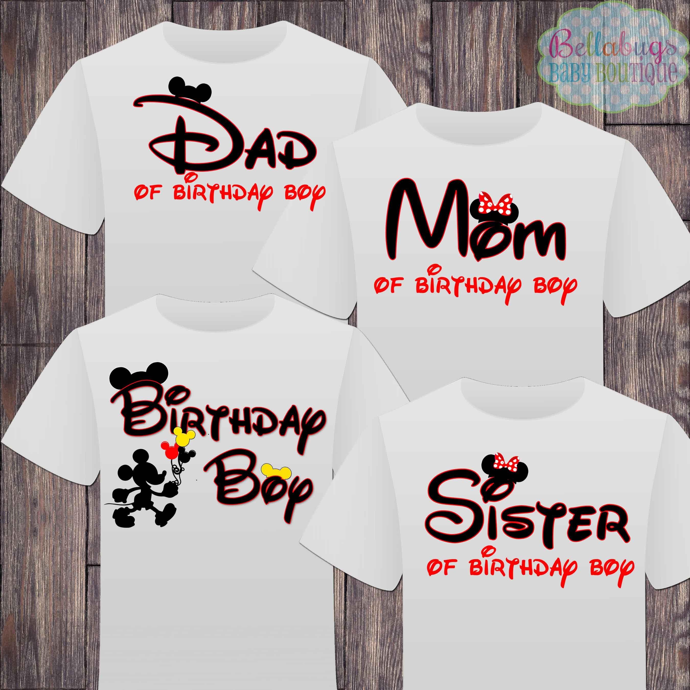 Matching disney family birthday boy tshirts mickey mouse