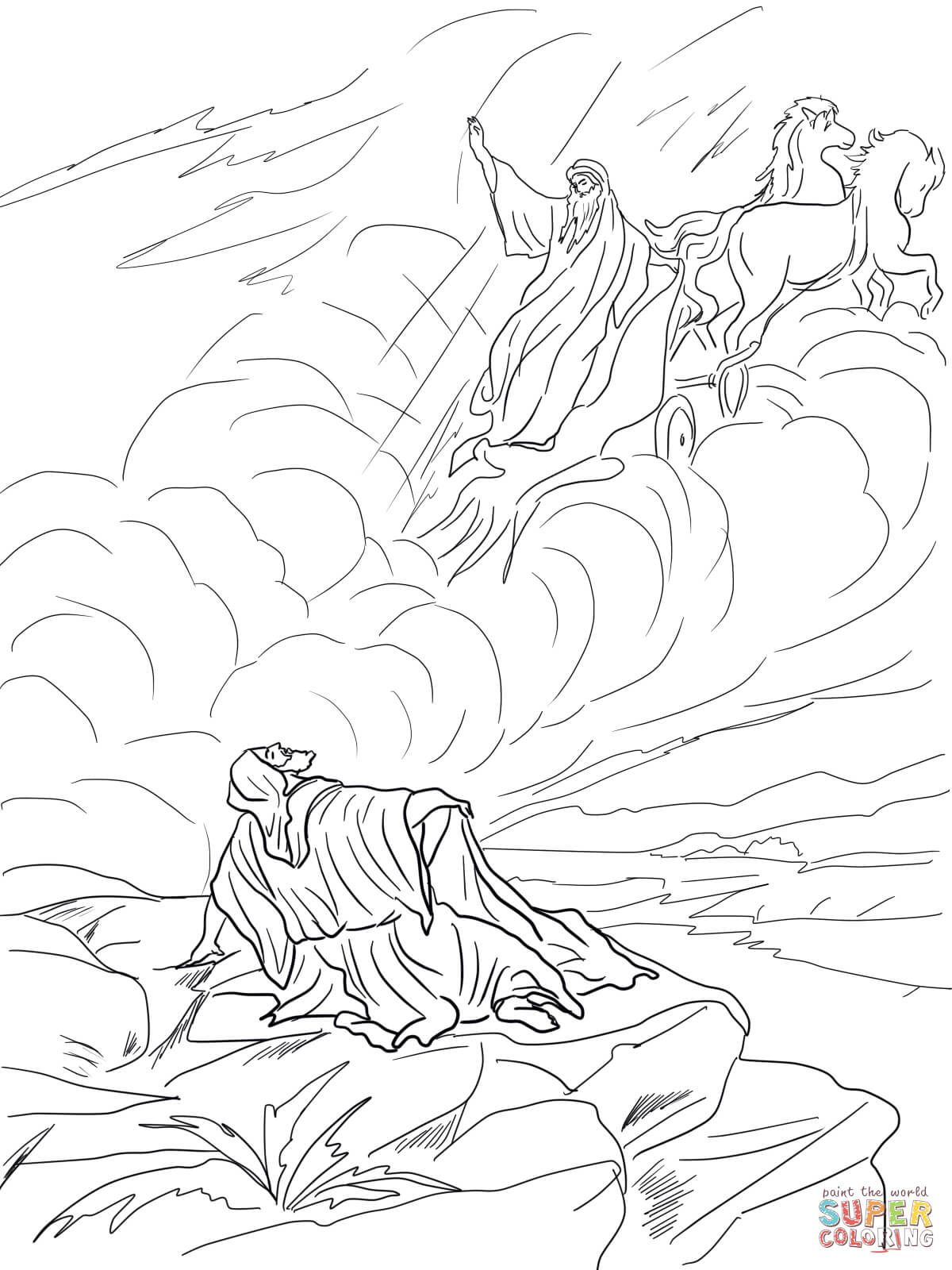 Elijah Taken Up To Heaven In A Chariot Of Fire Coloring Page Free Printable Coloring Pages Sunday School Crafts Bible Crafts Coloring Pages