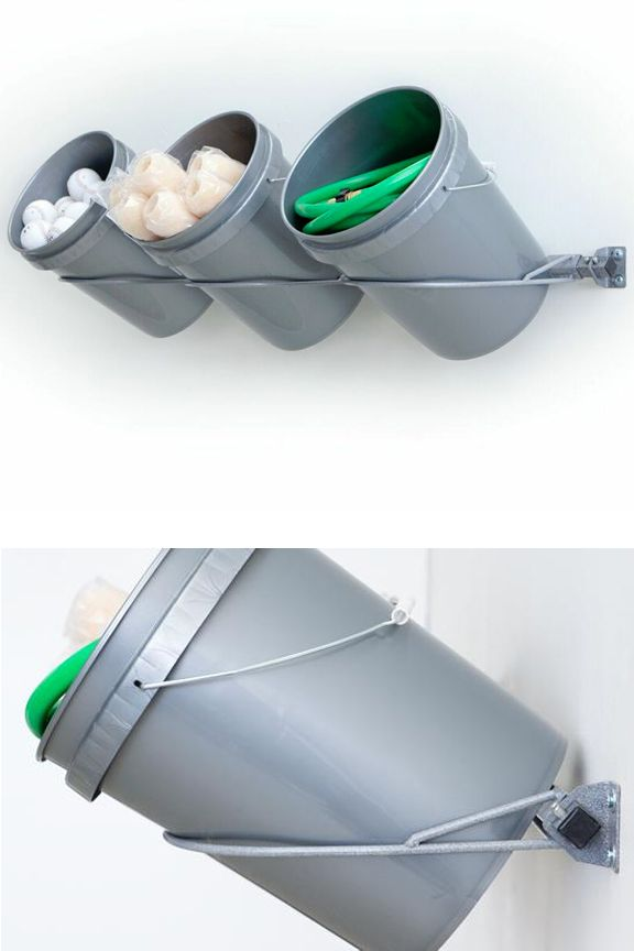 3 Bucket Storage Rack: A Wall Mounted Holder For Five Gallon Buckets. Store  And