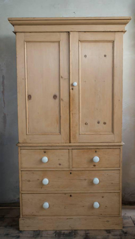 Mid Victorian Pine Linen press   Painted Furniture tips   Pinterest