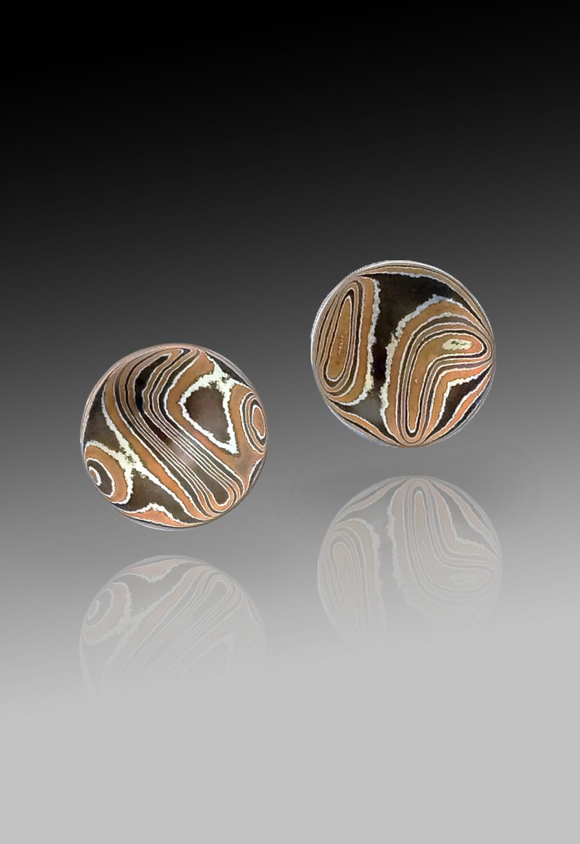 Baby Mokume Gane Cave Earrings by Richard Lindsay Designs Richard