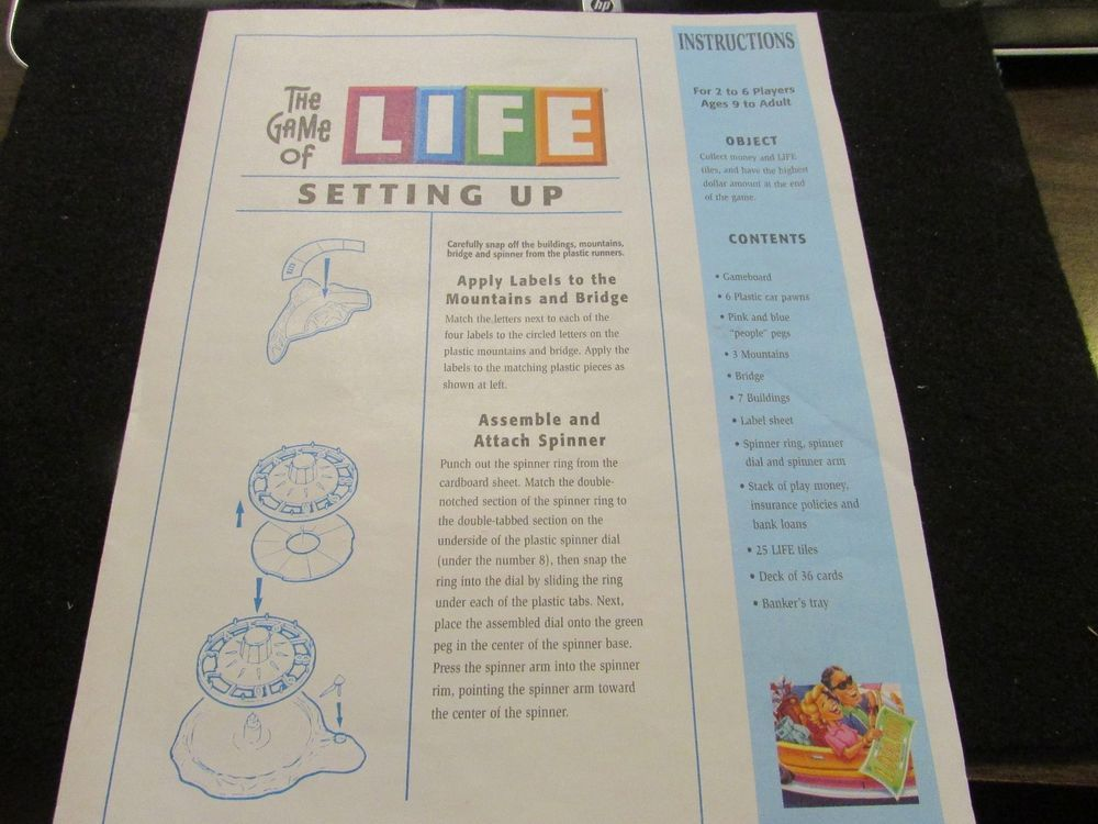 Details About 2005 The Game Of Life Rules And Instructions