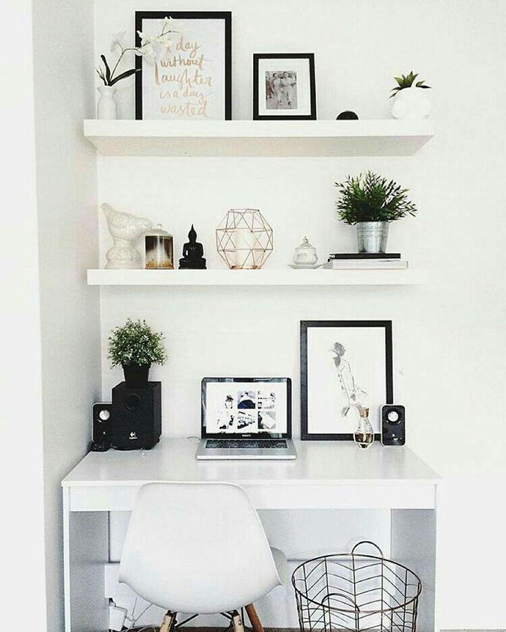 Bright Desk And Floating Shelves