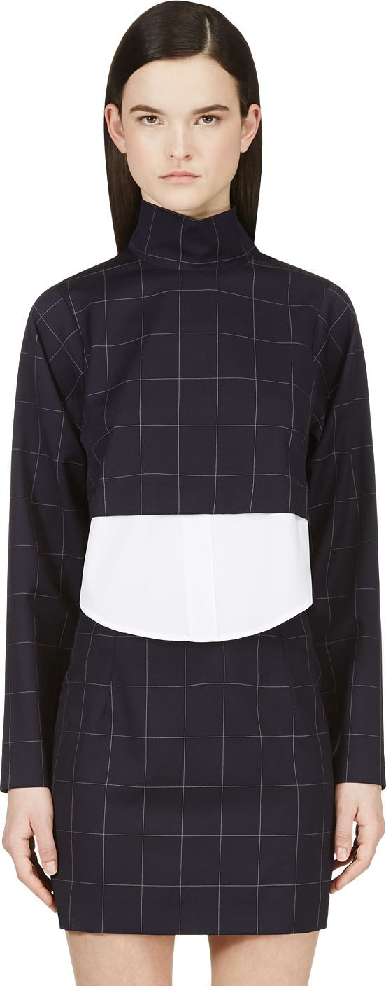 Jacquemus - Navy Check Layered Cropped Blouse