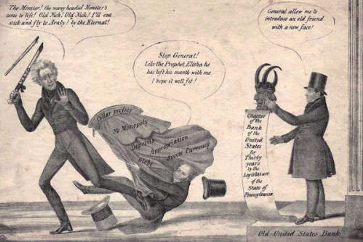 Andrew Jackson Bank War Political Cartoon