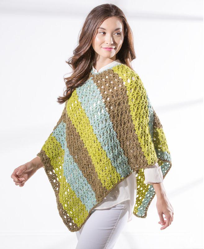 Premier Yarns Sweet Roll Star Stitch Crochet Poncho - free crochet ...