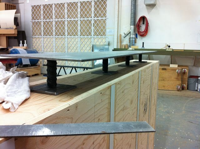 Concrete And Wood Reception Desk Framing For The