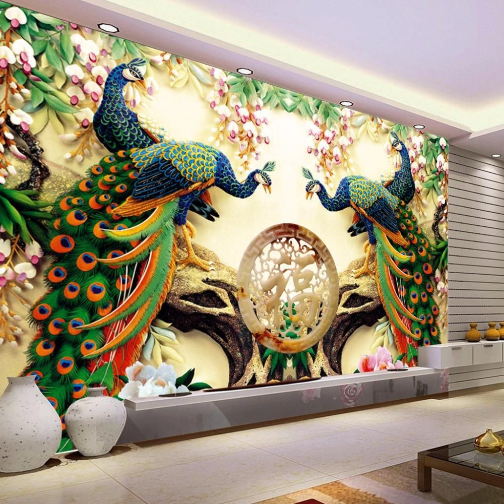 3d Peacock Wallpaper Mural Custom Sizes Available In 2021 Wallpaper For Home Wall Modern Mural Large Wall Paintings 3d ceiling wallpaper india
