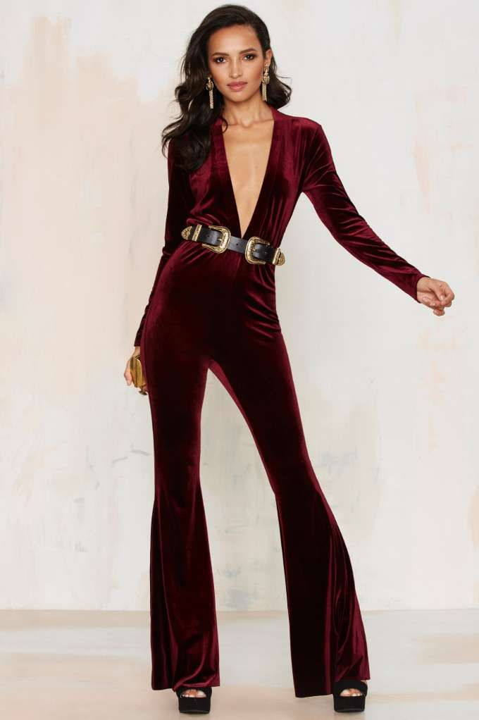 ab392a95b8b Bell It Like It Is Velvet Jumpsuit - Red - Rompers + Jumpsuits ...