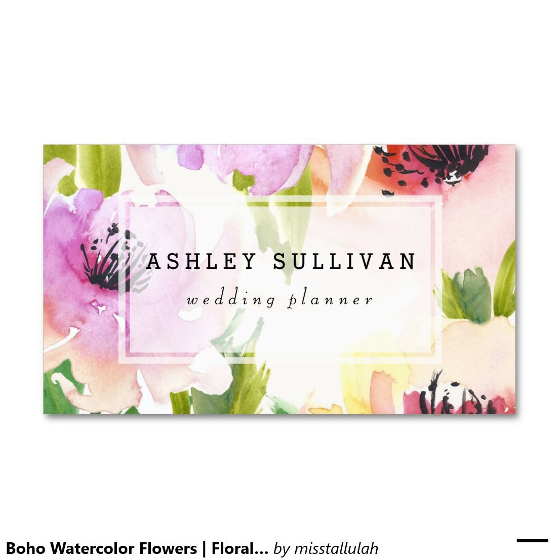 Boho Watercolor Flowers | Floral Business Card | Business cards ...