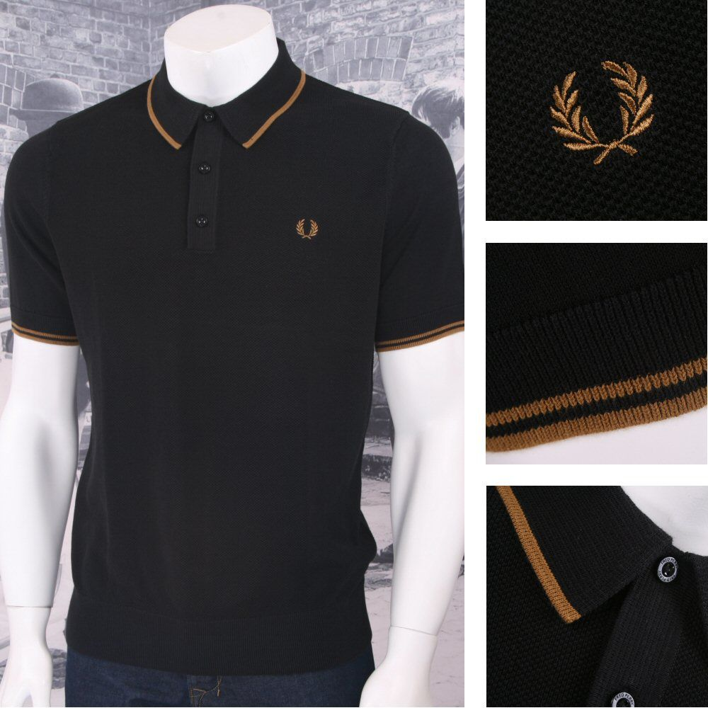 Fred Perry Mod 60's Laurel Wreath Waffle Knit Tipped Polo Shirts Thumbnail 2