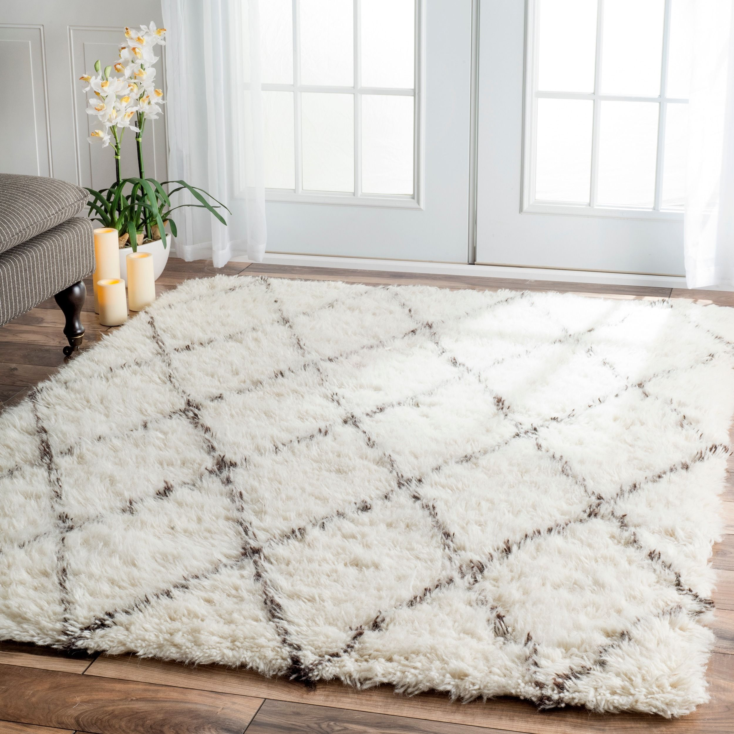 Lovely NuLOOM Handmade Plush Moroccan Trellis Wool Shag Rug X (Ivory), Black, Size  X Pictures
