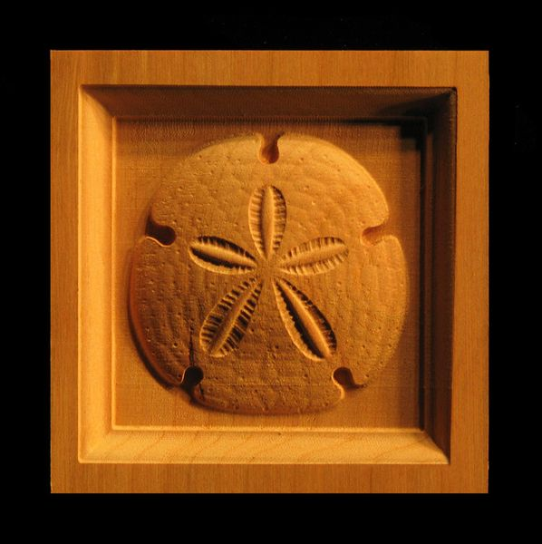 Decorative Wood Corner Block Carved Sand Dollar Carving Coastal