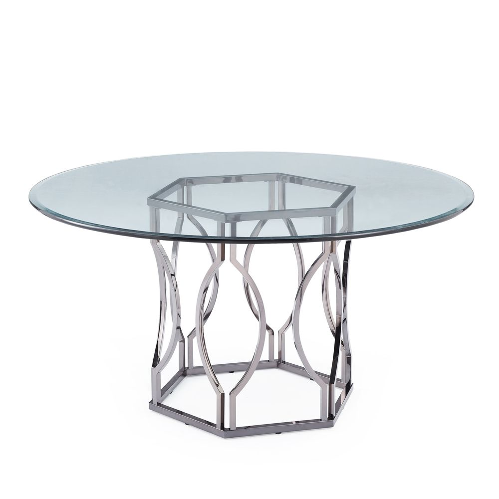 Found it at Wayfair - Carlotta Round Glass Dining Table