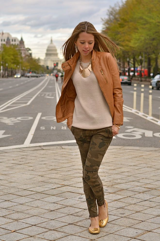neutral hues with military print trousers - gorgeous #style