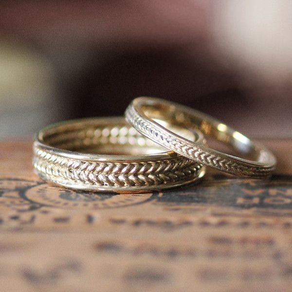 Gold Wedding Band Set Yellow Ring His And Her
