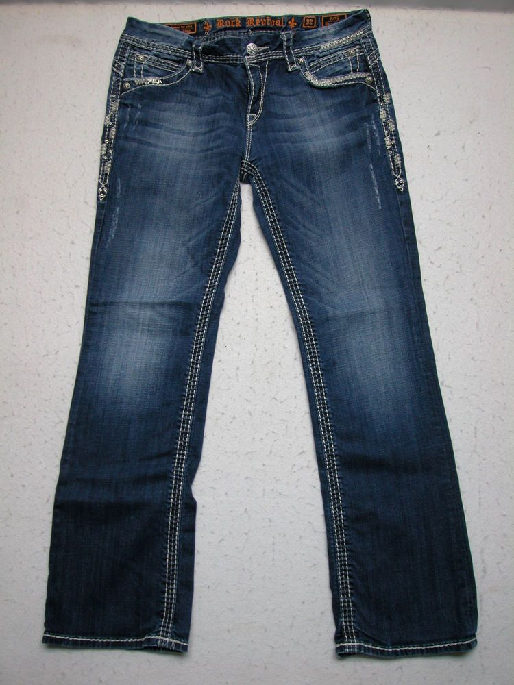 Rock Revival 32 Amy Woman Easy Boot Blue Jeans Stretch