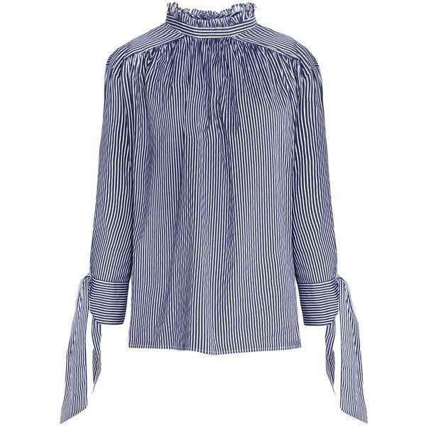 High Collar Sleeve Tie Stripe Shirt (29.620 HUF) via Polyvore featuring tops, tie shirt, high collar top, cotton shirts, stripe shirt and striped top