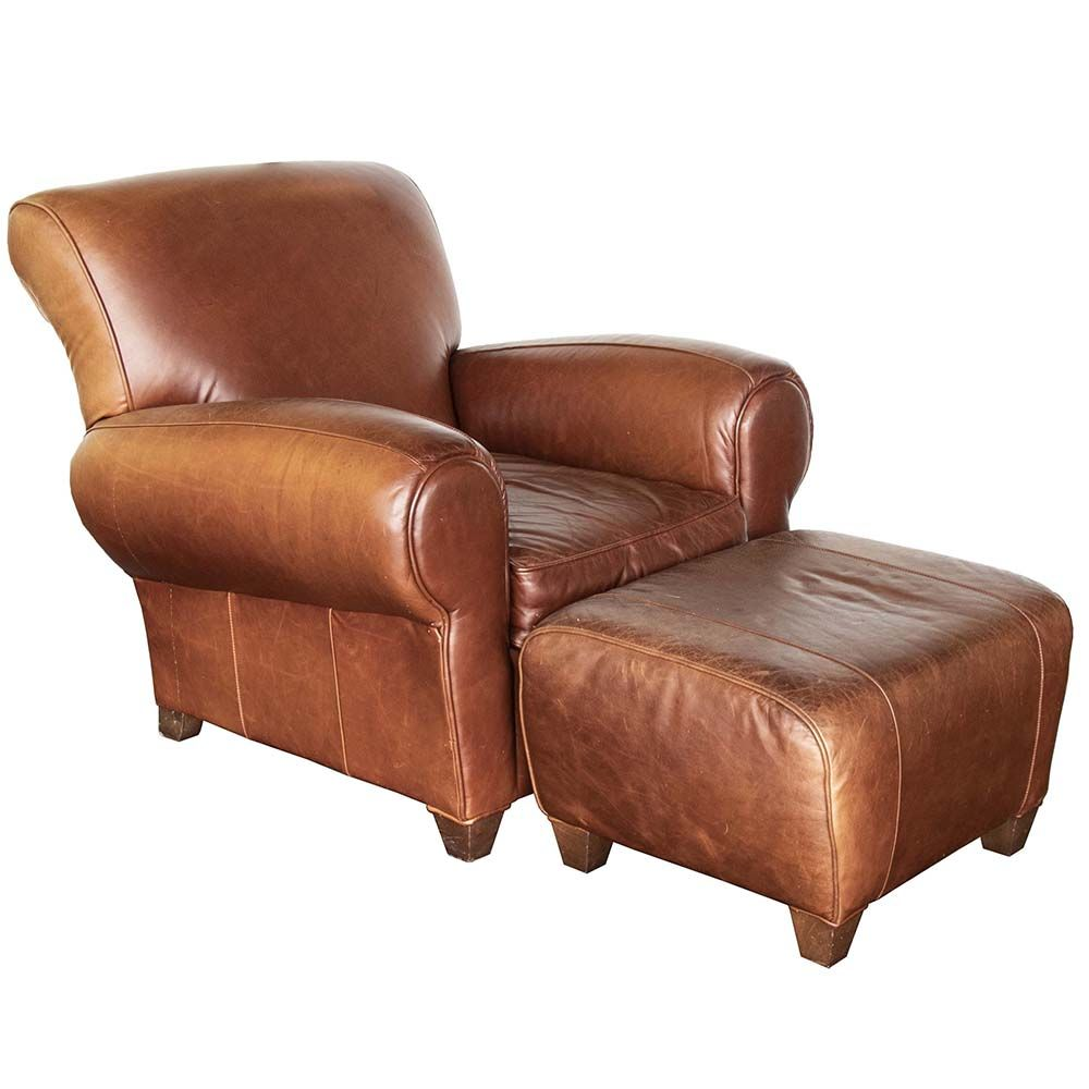 The Manhattan chair and ottoman duo from Pottery Barn has