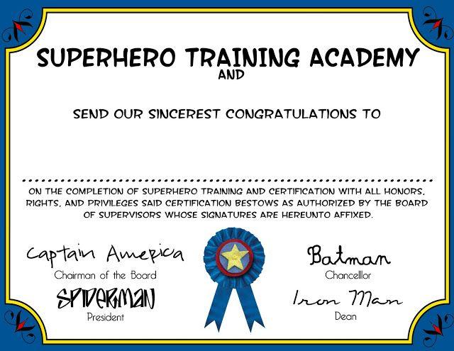 Superhero training certificate Superhero Party Pinterest - free training certificates