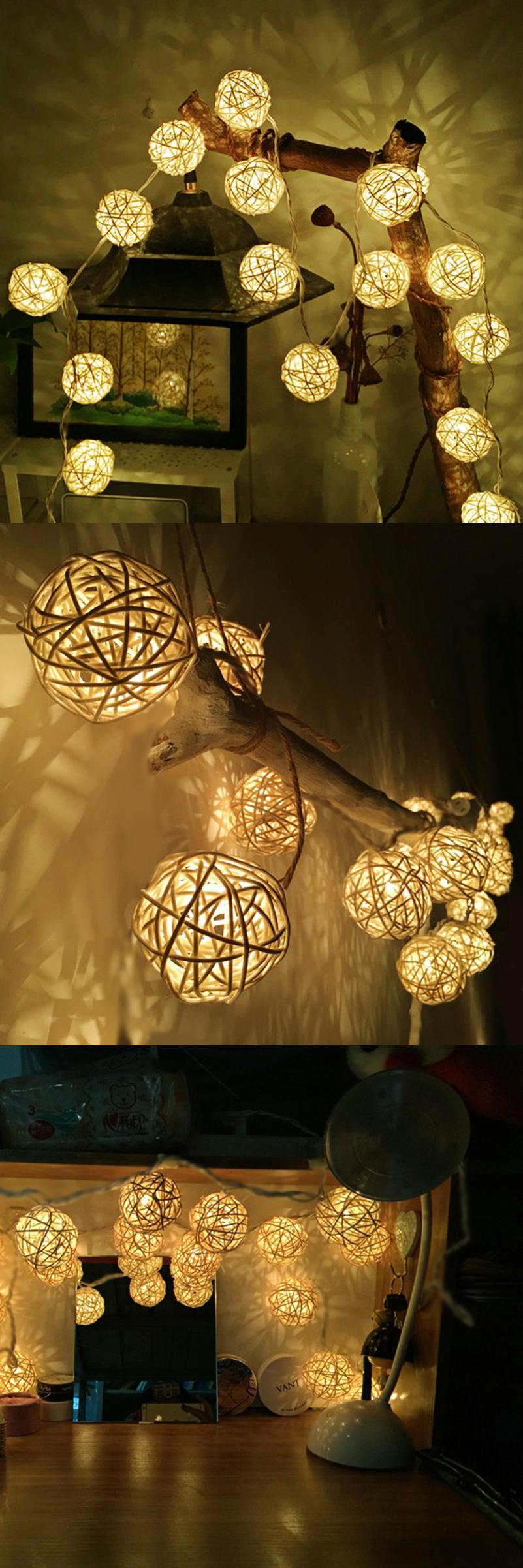 Luxury Rattan Ball String Lights