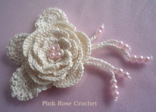 \ PINK ROSE CROCHET /: Flor