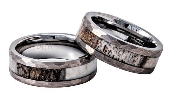 Deer Antler Ring in Tungsten Hammered Finish 8mm Comfort Fit