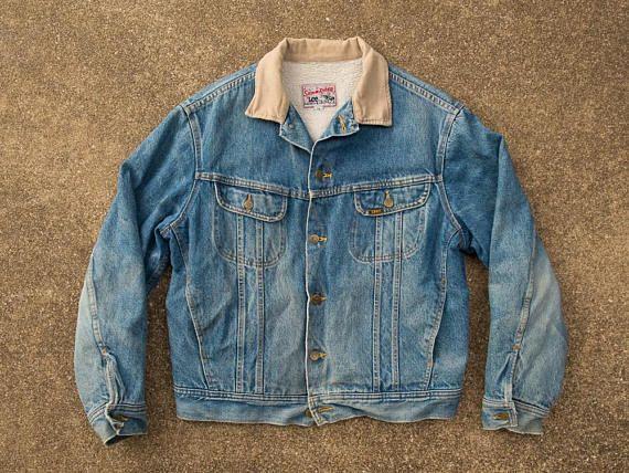 e054e6d365c30 Jean Jacket L - Vintage Lee Storm Rider Jean Jacket Men's Large - Sherpa  Lined Denim Jacket L - 80s Lee Storm Rider Jacket L - Vintage Lee