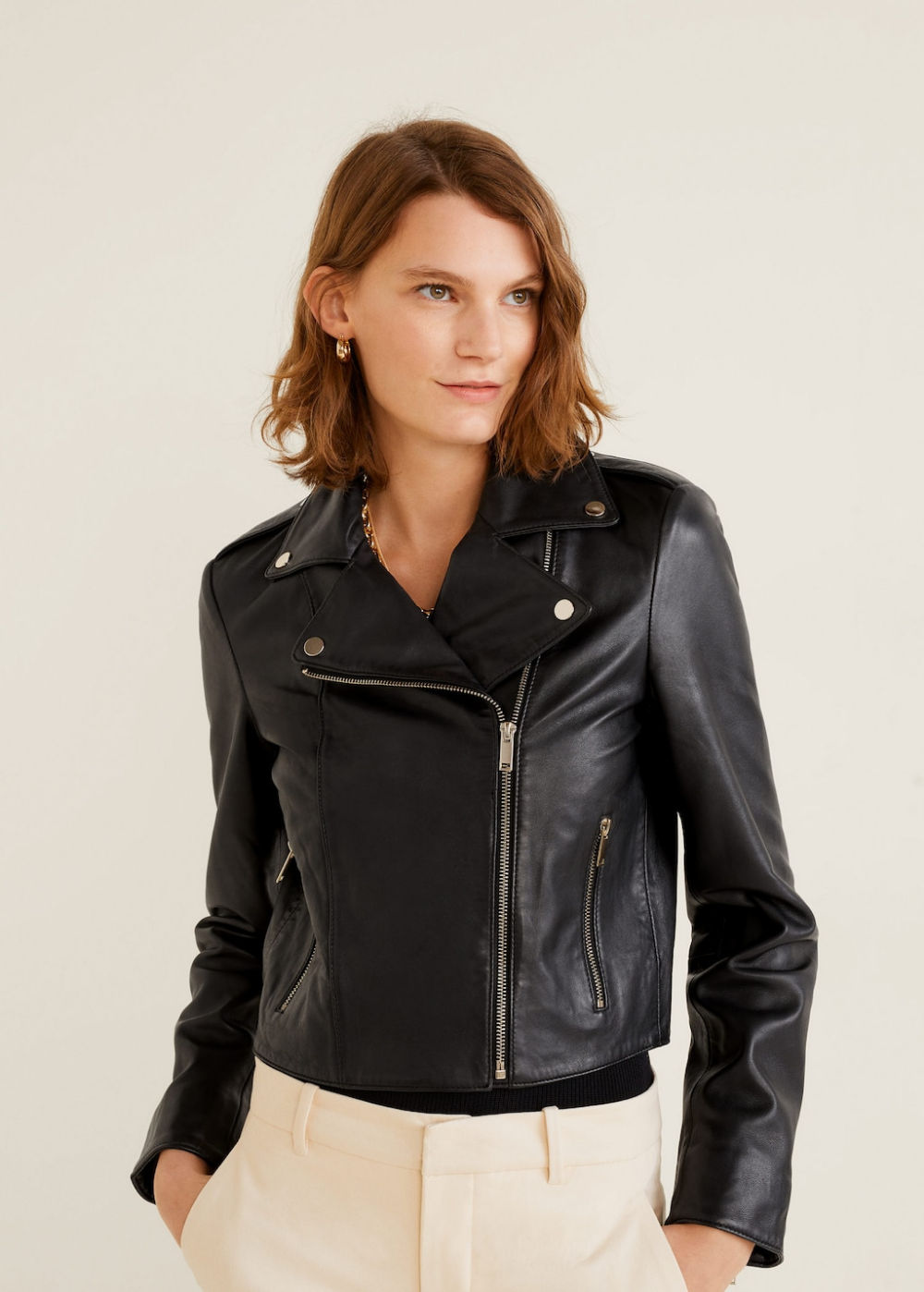 Lapelled leather biker jacket Women Jackets, Jackets