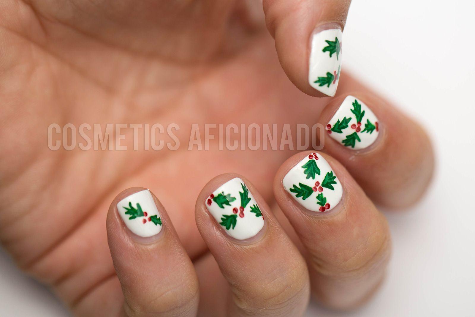 christmas nail art holly holly nail art nail art for nubs nail art for short nails via of the madhouse aficionado - Easy Christmas Nail Art For Short Nails