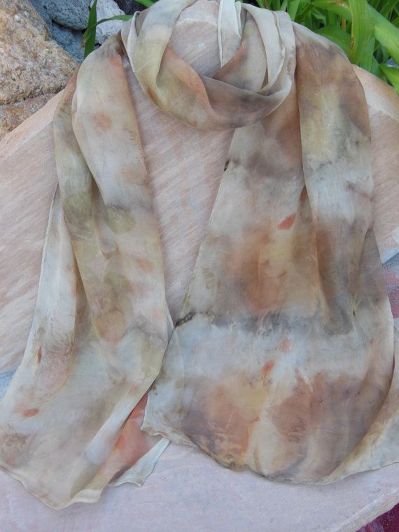 Eco printed silk chiffon scarf by BandsofColor on Etsy, $50.00