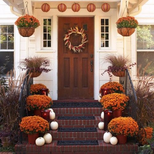 Love The Look Of This Front Porch....  Mums And Pumpkins....