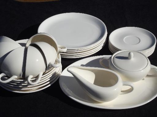 Mid Century Modern Vintage Pure White China Dinnerware Plain Mod