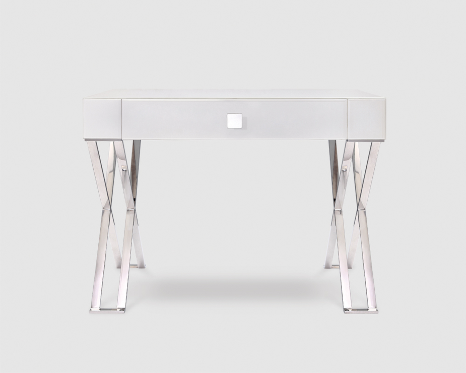 Richmond White Glass/Polished Stainless Steel Dressing/Console Table  (Dressing Table) |